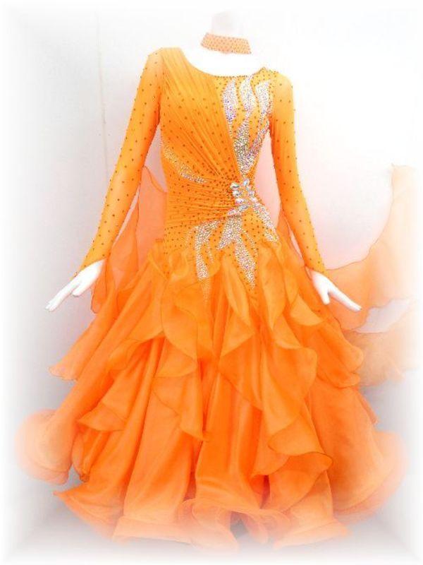 新作!蛍光オレンジのモダンドレス