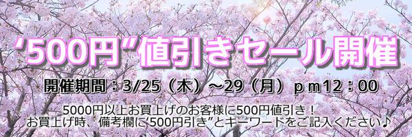 500円値引きセール開催!