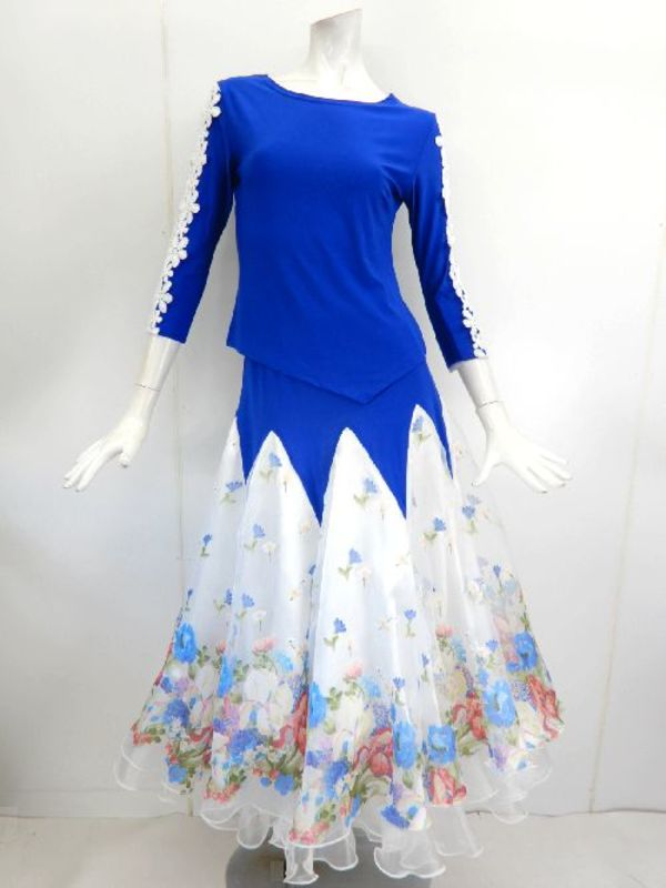 【su371】社交ダンス上下スーツ スカートお花柄切替 スタンダード ブルーホワイト