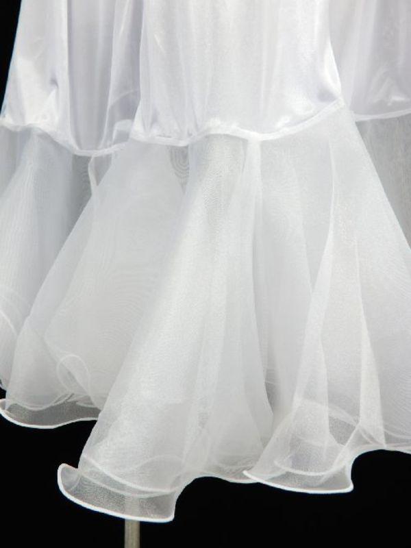 【sk745】社交ダンス ロングペチコート 裾オーガン ホワイト
