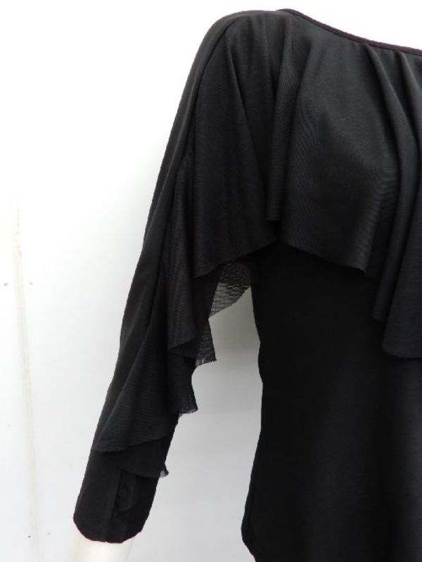 【c314】社交ダンストップス シースルーフリル飾り ブラック
