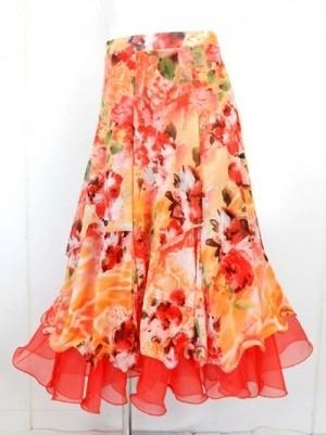 《高品質》【sk679】社交ダンスロングスカート 6枚はぎ 裏付き レッドオレンジ