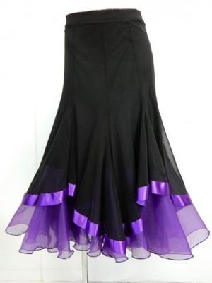 《高品質》【sk558】社交ダンスロングスカート 重ね着風 裾テープ ブラックパープル