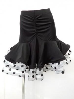 【sk562】社交ダンスラテンスカート ヒップ切替裾段々ドット柄オーガン風 ホワイト