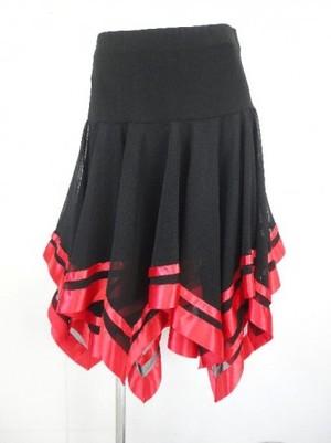 ☆高品質☆【sk392】社交ダンスラテンミディアムスカート テープギザギザ ブラックレッド