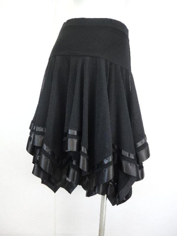 ☆高品質☆【sk738】社交ダンスラテンミディアムスカート テープギザギザ ブラック