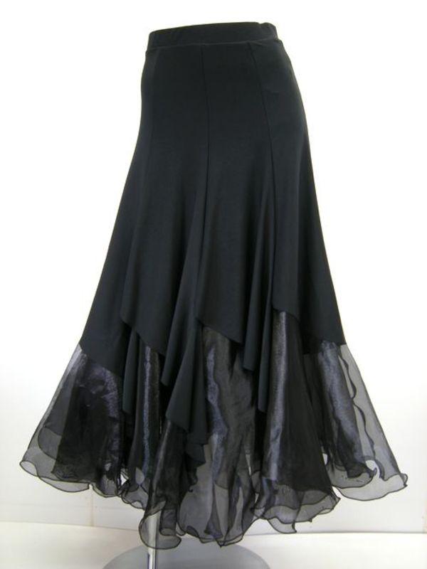 ☆人気商品☆【sk163】ロングスカート 重ね履き風 ブラック