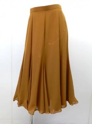 《大処分》【sk563】国産モダンスカート 上質シフォンスワロ付 L キャメル 17064円を↓