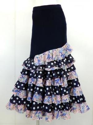 フラメンコ用【sk746】ロングスカート  裾段々フレアー ネイビーピンク