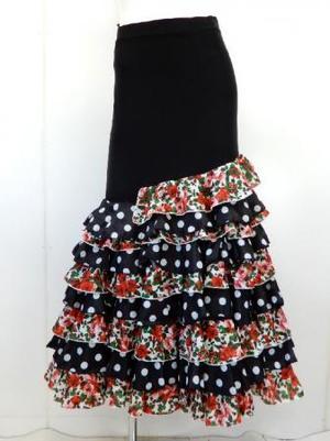 フラメンコ用【sk747】ロングスカート  裾段々フレアー ブラックレッド