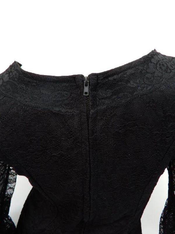 フラメンコ衣装【c320】トップス レースふんわり袖後ろファスナー ブラックL
