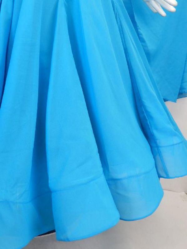 新入荷【Md013】社交ダンスドレス正装モダン ブルージョーゼット Lサイズ