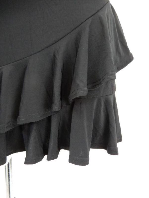 【sk565】オーバースカート 斜め段々フリル ブラック