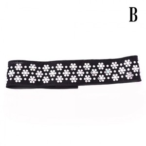 【ac097】チョーカー ネット素材 小花ストーン飾り 後ろマジックテープとめ ブラック