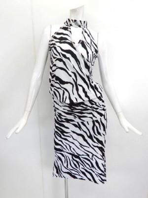 高品質【su273】社交ダンス上下スーツ 袖なしホルターネック&ミディアムスカート ゼブラ
