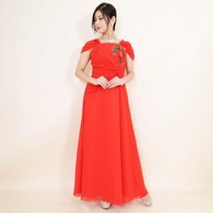 《値下げ》カラオケ舞台衣装【k-104】ロング丈ドレス 刺繍レッド Lサイズ 7106円を↓