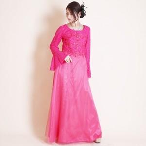 カラオケ舞台衣装【k-107】ロング丈ドレス 刺繍レース ピンク 3Lサイズ