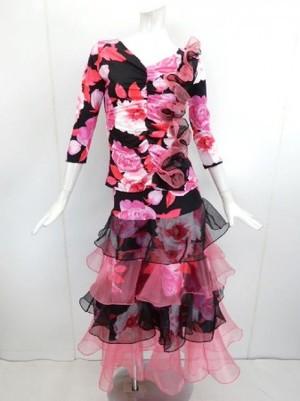 【su275】社交ダンス上下スーツ お花フリル+段段フリルスカート ピンク