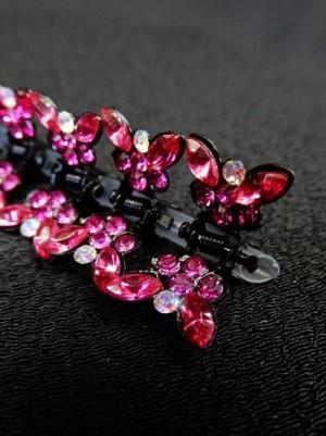 【ac115】ヘアーアクセサリー 蝶型ストーンクリップ 12個セット ピンク