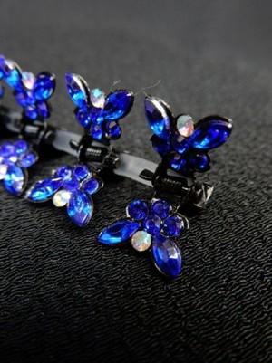 【ac116】ヘアーアクセサリー 蝶型ストーンクリップ 12個セット ブルー