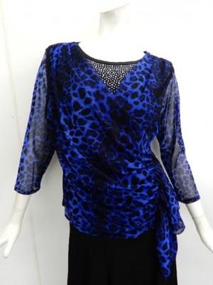 《高品質》【c206】社交ダンス衣装 重ね着風 ストーン飾り ヒョウ柄ブルー