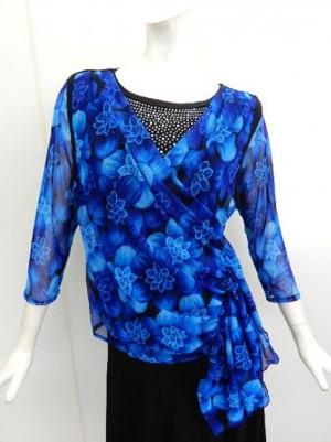 《高品質》【c209】社交ダンス衣装 重ね着風 ストーン飾り 花柄ブルー