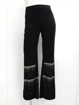 【p525】社交ダンスパンツ ブーツカット ストーン飾り ブラック