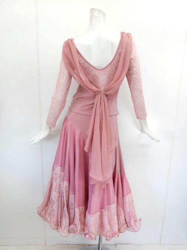 《高品質》【su408】社交ダンス上下スーツ 後ろシフォン レース切替 ピンク