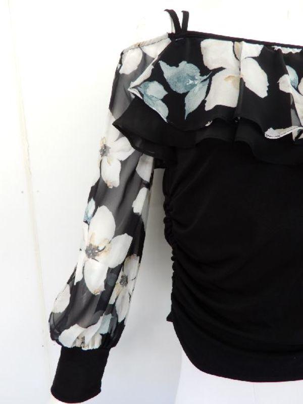 《高品質》【su413】社交ダンス上下スーツ シフォン花柄 アシメデザイン ブラック