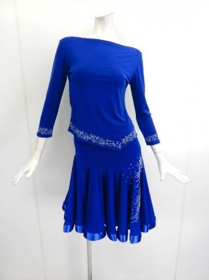 《高品質》【su416】社交ダンス上下スーツ ラテン シンプルT&斜めスカート ブルー