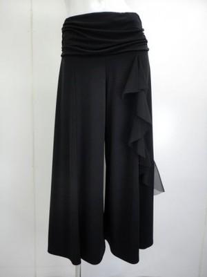 《人気商品》【p449】社交ダンスパンツ ワイド 縦フリル ブラック