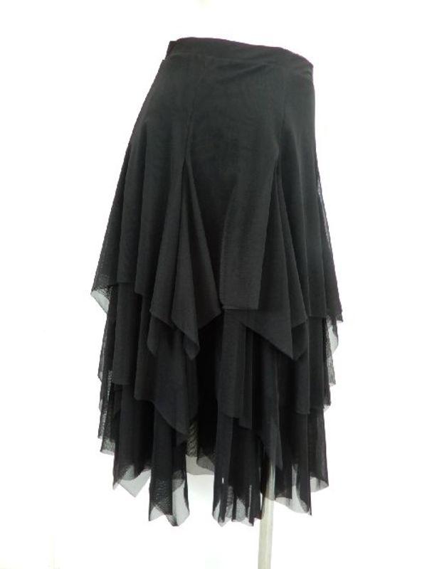 【sk700】社交ダンスミディアムロングスカート ネット地ギザギザ ブラック