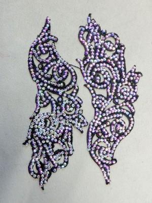 【ac177】リメイク商品 フラワー刺繍モチーフ ストーン 2枚 ブラック