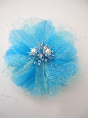 特価【ac052】コサージュ ヘアーアクセサリー&洋服飾り パール蕾 ターコイズブルー