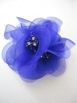 特価【ac054】コサージュ ヘアーアクセサリー&洋服飾り 3個花 パープル