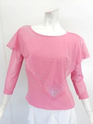 高品質【c227】社交ダンストップス 8分袖 ケープストーン飾り ピンク