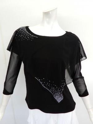 高品質【c230】社交ダンストップス 8分袖 ケープストーン飾り ブラック