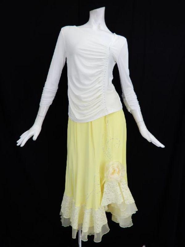 【c231】社交ダンストップス 8分袖 斜めギャザーストーン飾り ホワイト