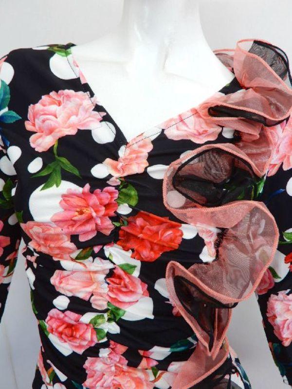 値下げ【su294】社交ダンス上下スーツ フリル+段段フリル お花ドット 10450円を↓
