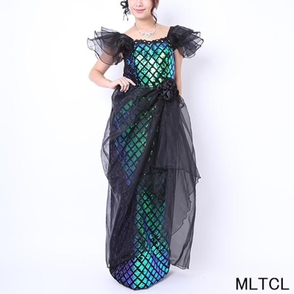 カラオケ発表会【k-119】ロング丈ドレス スパンコールチュール 黒青緑 Mサイズ