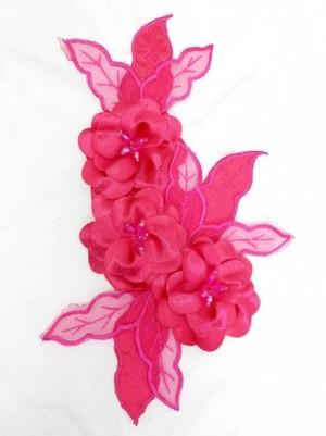 【ac122】リメイク商品  フラワーモチーフ 3D サテンビーズ ピンク