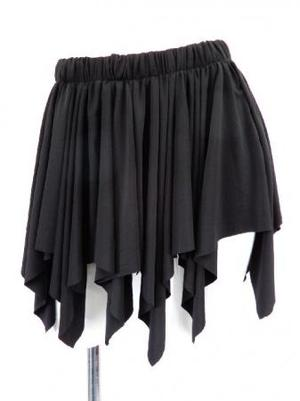 【sk750】オーバースカート ギザギザたっぷりフリル ブラック