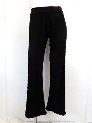 【p536】社交ダンスパンツ ブーツカット サイドストーン飾り ブラック