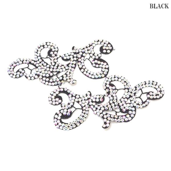 【ac180】リメイク商品 フラワー刺繍モチーフ ストーン 2枚 ブラック