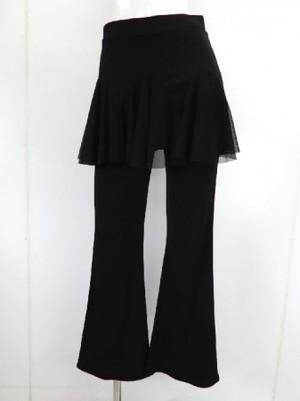 フリーサイズ【p526】ダンスパンツ オーバースカート一体化 山型切替