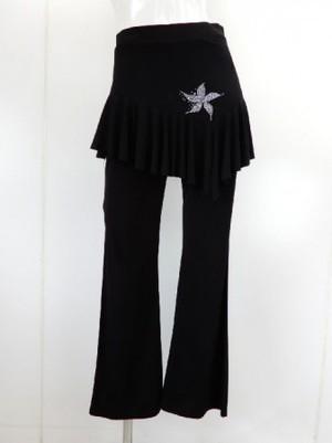 フリーサイズ【p527】ダンスパンツ オーバースカート一体化 お花ストーン