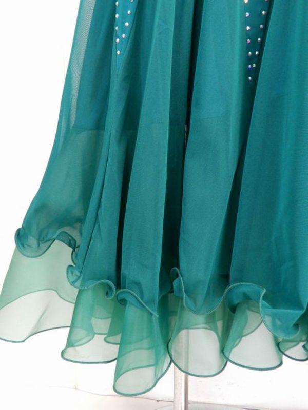 《高品質》【sk583】社交ダンスロングスカート ボリューム裏付き ストーン付 グリーン