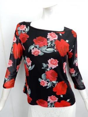 【c332】社交ダンス衣装 Lサイズ ボートネック花柄 レッド