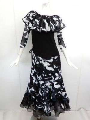 【su457】社交ダンス上下スーツ ヒラヒラ襟T&重ね着風スカート モノトーン