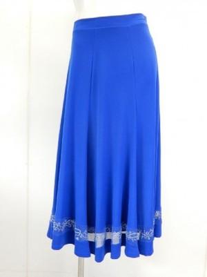 【sk702】社交ダンスロングスカート シンプル裾シースルー切替 ブルー
